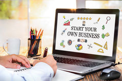 Start Your Own Business Concept On Laptop Monitor. Start Your Own Business Concept With Various Hand Drawn Doodle Icons On Laptop Screen royalty free stock photography