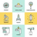 Start zeer belangrijke geplaatste elementen vlakke pictogrammen stock illustratie