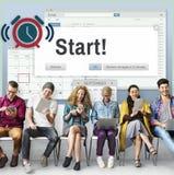 Starta att börja det första aktiveringsbegreppet för den framåt Startup lanseringen royaltyfri bild