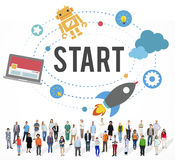 Starta begreppet för början för beskickningframgångstrategi royaltyfri bild