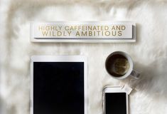 Starta dagen med te och ambition royaltyfri fotografi