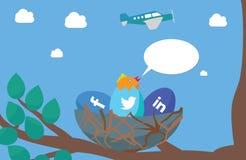 Starta den begreppsmässiga illustrationen för den sociala massmediaaktionen Arkivbilder