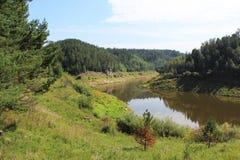Starta den Sârghe floden Krasnoyarsk territorium Royaltyfria Foton