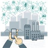 Starta en smart fabrik, smartphoneonline-kontroll royaltyfri illustrationer