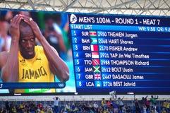 Starta listan av 100m värme 7 på OS:er Rio2016 Royaltyfri Bild
