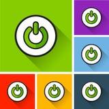 Starta symboler med lång skugga Arkivfoton