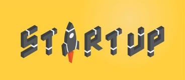 STARTA UPP begreppet med raket i isometrisk stil vektor illustrationer