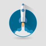 Starta upp begreppsutrymmeRoket den moderna plana designen stock illustrationer