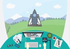 Starta upp den begreppsmässiga illustrationen Handen av teknikern är driftig startar upp knappen, medan raket är på launchermedle Arkivfoton