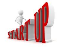STARTA UPP textstegen att gå affärsmannen 3d stock illustrationer