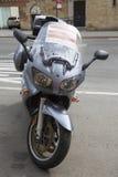 Startad olagligt parkerad motorcykel i New York arkivbild