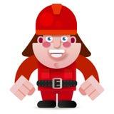 Startad vektorillustration för brandman Ready To Get stock illustrationer