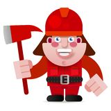 Startad vektorillustration för brandman Ready To Get royaltyfri illustrationer