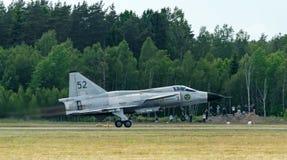 Startande fas av Saab 37 Viggen Arkivfoto