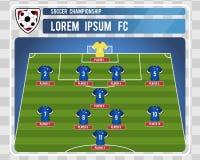 Startande lineup för fotboll eller för fotboll med redigerbar ordning av spelare också vektor för coreldrawillustration royaltyfri illustrationer