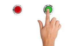 startar tätt objekt för knappen över upp white Royaltyfri Fotografi