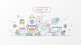 Startbedrijf Snelgroeiende infographic zaken Het horizontale samenstellingsmalplaatje bevat Raketpictogrammen, Bedrijfs planning Stock Foto