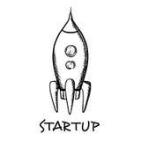 Startconcept met een ruimteschip Royalty-vrije Stock Afbeelding