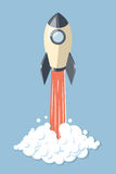 Started 3d rocket spaceship isolated on blue vector illustration