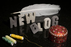 Starten einer neuen Mode oder des Designs oder Nähen des Blogblogs Stockbilder