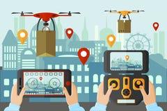 Startende Drohnen der Leute durch verschiedene Anwendungen in der Großstadt Modernes Technologiekonzeptgerät vektor abbildung
