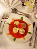 Starter. Tomatoe and Motzarella soup starter with basil Royalty Free Stock Photo