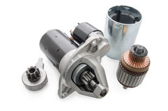 Starter for car and spare parts to it Royalty Free Stock Images