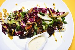 Starter or diet meal concept. Salad made of purple cabbage, royalty free stock photo