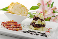 Starter with Duck Meat, Apples, Blood Sausage Stock Photo
