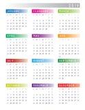2019 starter för kalendervecka på färgrika söndag stock illustrationer