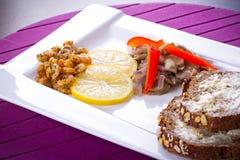 Starter with fried prawns Stock Photo
