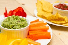 Guacamole and salsa dips Royalty Free Stock Image