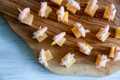 Starter idea: shrimps with cheese and lemon Stock Images
