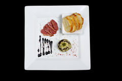 Starter Of Duck Meat, Blood Sausage, Apples Stock Photo