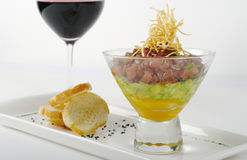 Starter out of Raw Tuna, Avocado and Mango Royalty Free Stock Photography