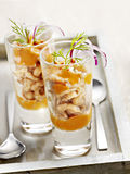 Starter of prawns with mouse served in a small glass Stock Photo