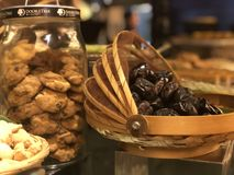 Dates and cookies. Starter for ramadhan in hotel Stock Images