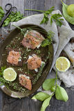 Starters with salmon butter seeds lemon and herbs on rye bread Stock Image