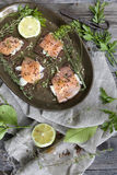 Starters with salmon butter seeds lemon and herbs on rye bread Royalty Free Stock Photography