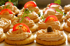 Starters with salmon spread Stock Image