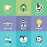 Startflache Ikonen der schlüsselelemente Stockfotos