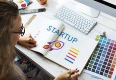 Startgeschäfts-Unternehmergeist-Produkteinführungs-Konzept stockfotos