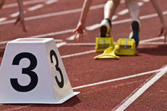 Starting. Block in track and field Stock Photography