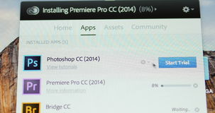 Starting Adobe Photoshop Trial Mode stock video footage