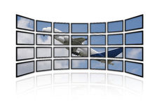 Starting Airbus A380 on screens. Starting Airbus A380 without trademarks on screens Royalty Free Stock Photos