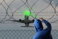 Starting Airplane blinded with a Laserpointer Royalty Free Stock Image