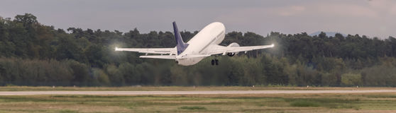Starting airplane speed blur. A starting airplane speed blur Stock Images
