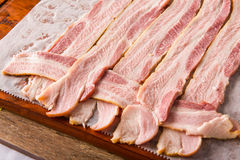 Starting a bacon weave. Bulding a bacon weave for different bacon dishes royalty free stock images