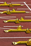 Starting block. In track and field Stock Image