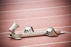 Starting Block. Image of a starting block for athletes with intentional vignetting Royalty Free Stock Photography